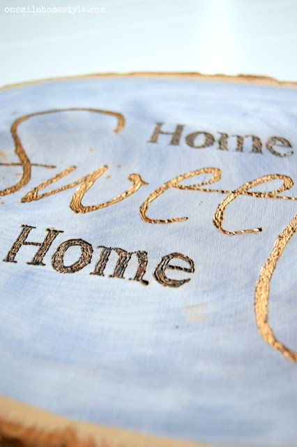 Blue and Gold Wood Slice Home Sweet Home Wall Art Sign - One Mile Home Style
