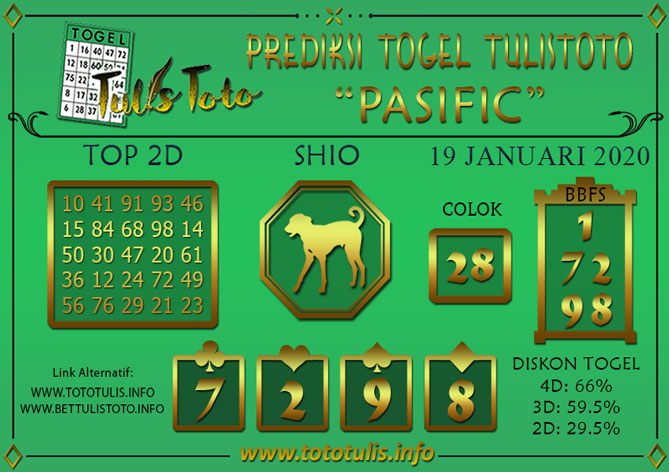 Prediksi Togel PASIFIC TULISTOTO 19 JANUARI 2020