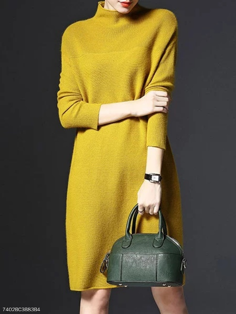 High Neck Plain Knitted Shift Dresses - FashionMia Special Price:US$21.95