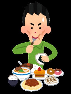 太ろうとして沢山食べる人のイラスト(男性)