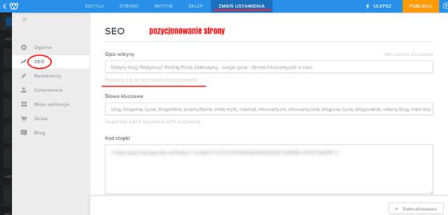 Strona na Weebly - SEO