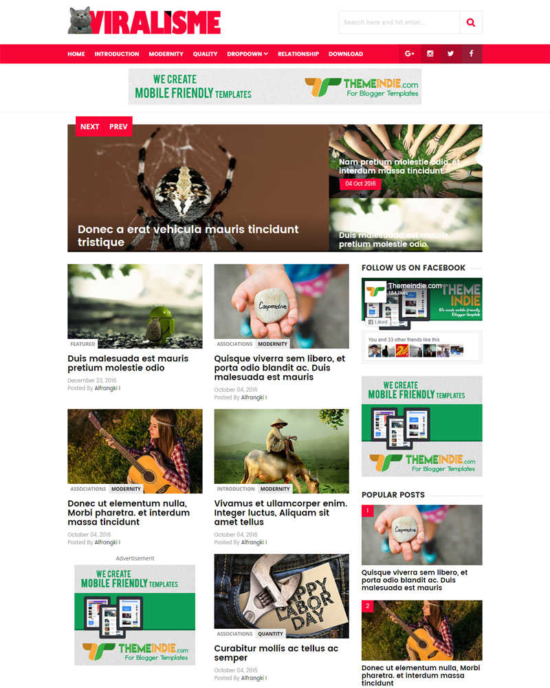 Viralisme Responsive Blogger Template for Viral News Blog