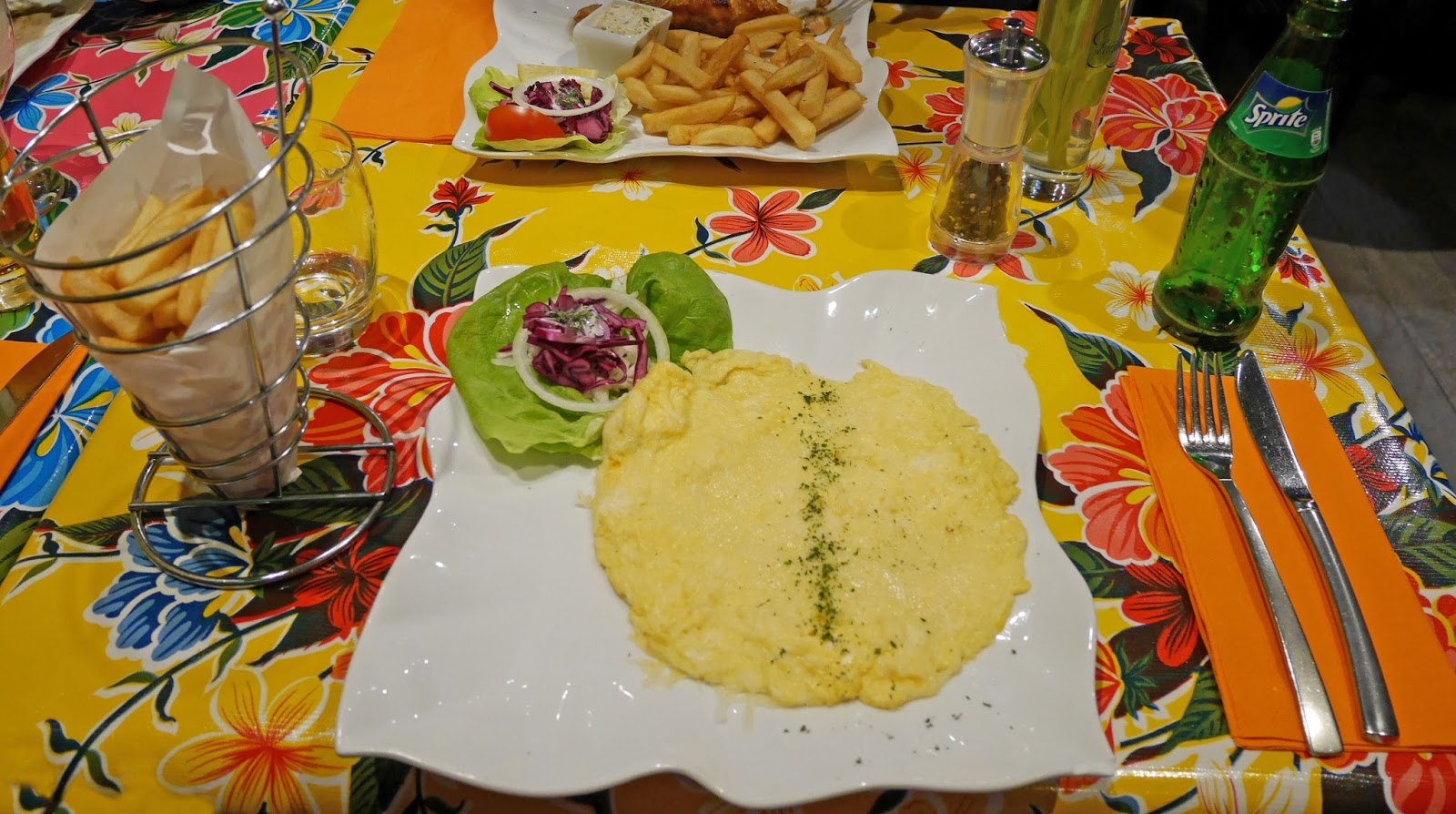 Omelette and fries for dinner at Arthie's Restaurant, Bruges