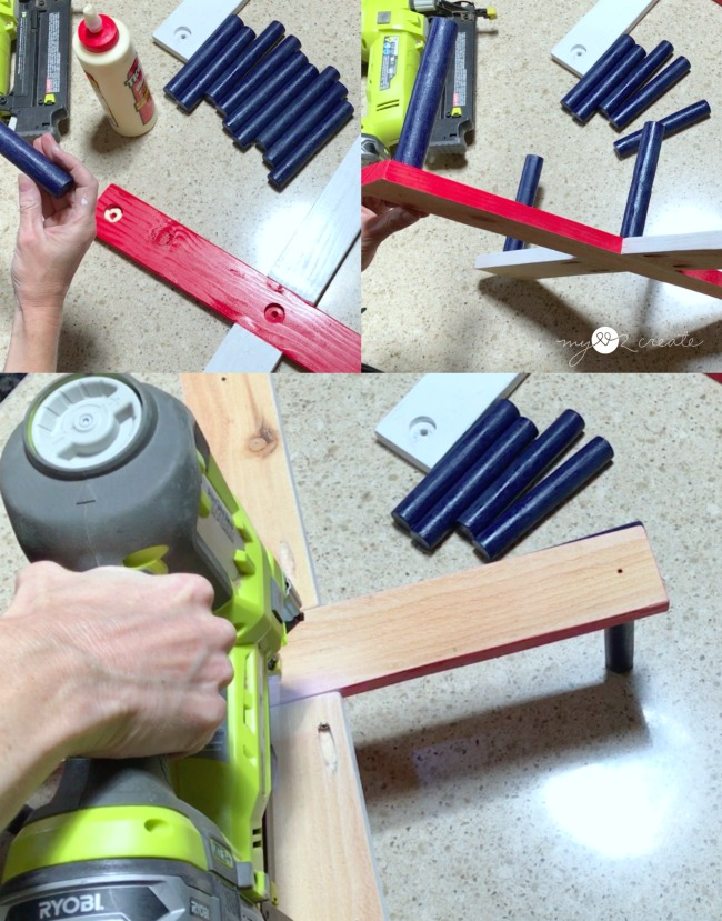 gluing an nailing dowels into ring toss game base