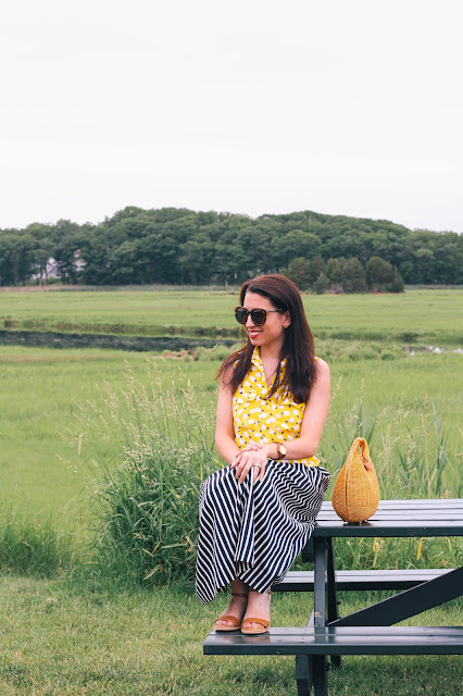 The Northern Magnolia in lemon print top with striped midi skirt in Essex Massachusetts