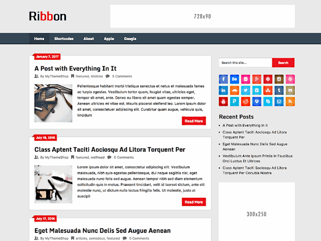 Riboon Lite Free WordPress Theme has responsive layout, SEO friendly, mobile friendly design, high quality appearance, related post widget, stylish design, dynamic structure, sylish popular post widget, recent post widget, social share buttons, responsive dropdown menubar.