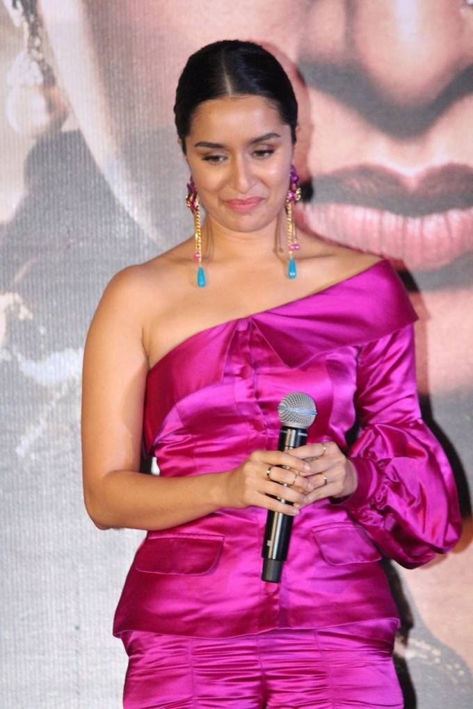 Shraddha Kapoor In Pink Dress At Hindi Movie Trailer Launch