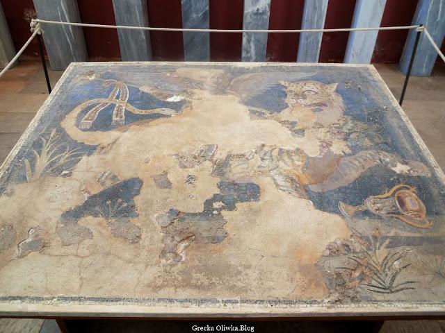 Mozaika pt. Uskrzydlony Dionizos na tygrysie Delos Grecja
