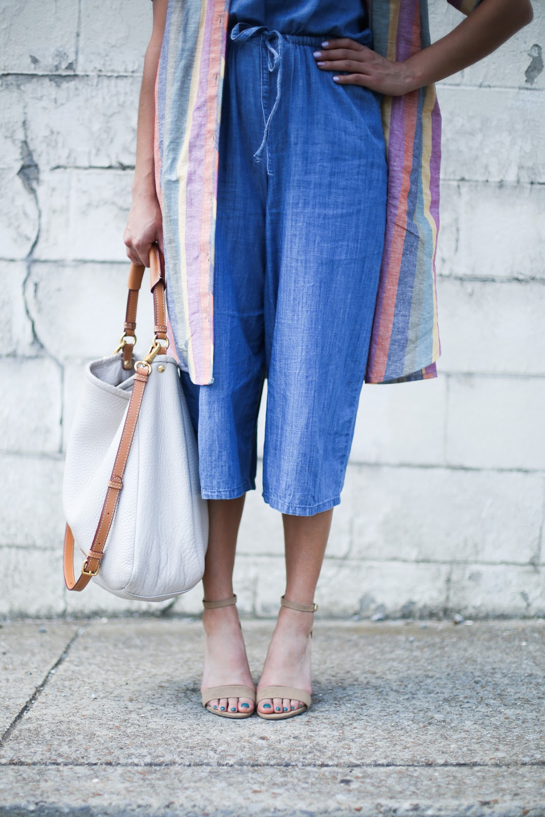 Priya the Blog, Nashville fashion blog, Nashville fashion blogger, Nashville style blog, Nashville style blogger, milkmaid braids, Madewell Rainbow Stripe Dress, chambray jumpsuit, Summer outfit, Madewell Rainbow Stripe, ban.do gold sunglasses, nude suede heels, rainbow tunic over chambray jumpsuit