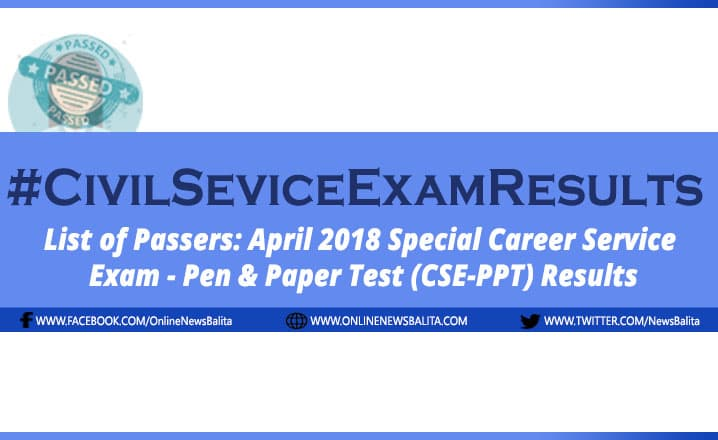 April 2018 Civil Service Exam Results CSE-PPT - Region 10