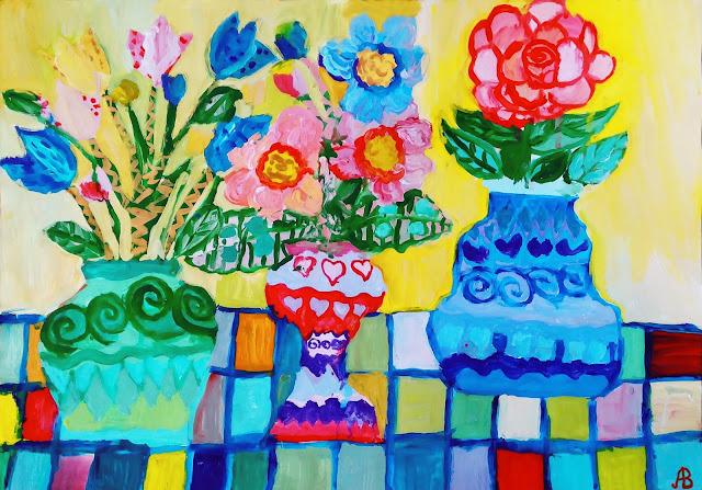 Цветы, нарисованные гуашью