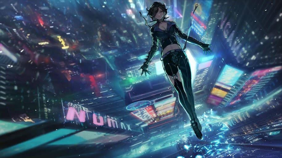Cyberpunk, Girl, Night, City, Buildings, 4K, #4.961