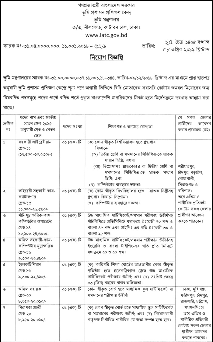 LATC Job Circular 2019