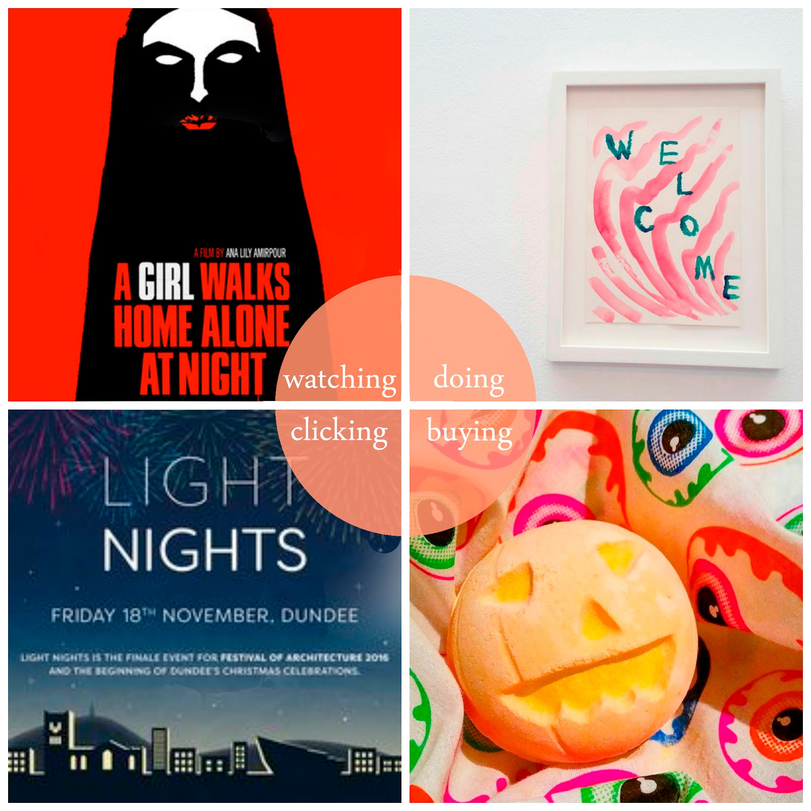 Round Up, best bits, october highlights, blogger highlights, October 2016, #31daysofhorror, horror films, horror film recommendations, A Girl Walks Home Alone at Night, Katy Dove, DCA, Lush halloween bath bomb, Lush Halloween scarf, Light Nights Dundee