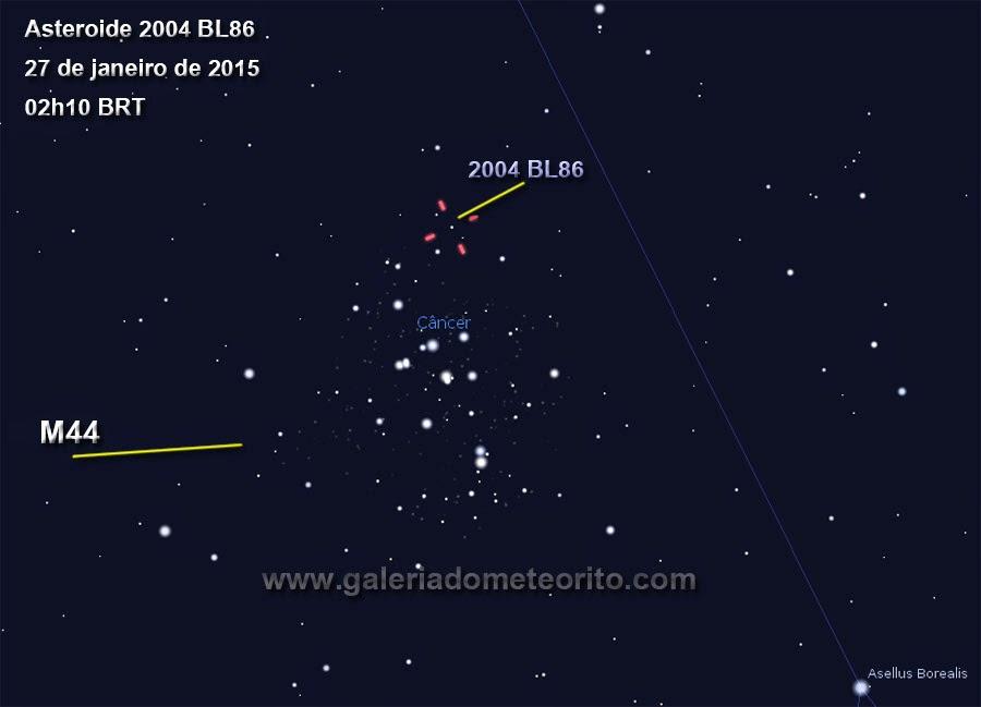 grande asteroide no céu dia 26 de janeiro 2015