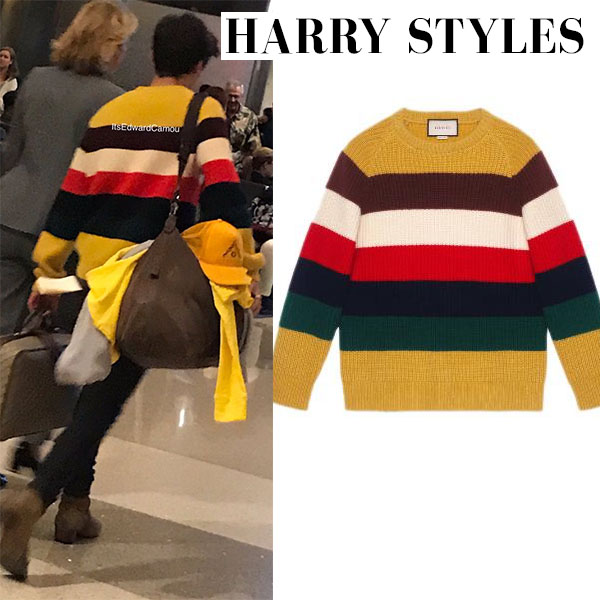 Harry Styles in striped yellow sweater gucci mens airport style 2017