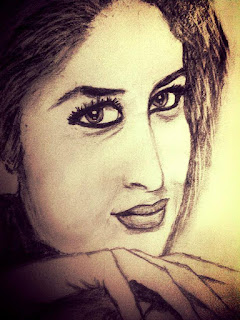 Kareena Kapoor Khan Pencil Portrait by Deviprasad Patra.