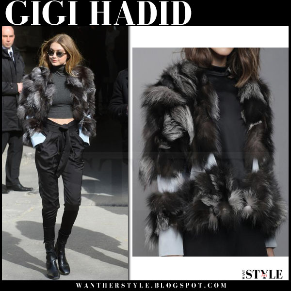 Gigi Hadid in grey fur waldrip jacket, black pants and black ankle sandro boots what she wore paris fashion week