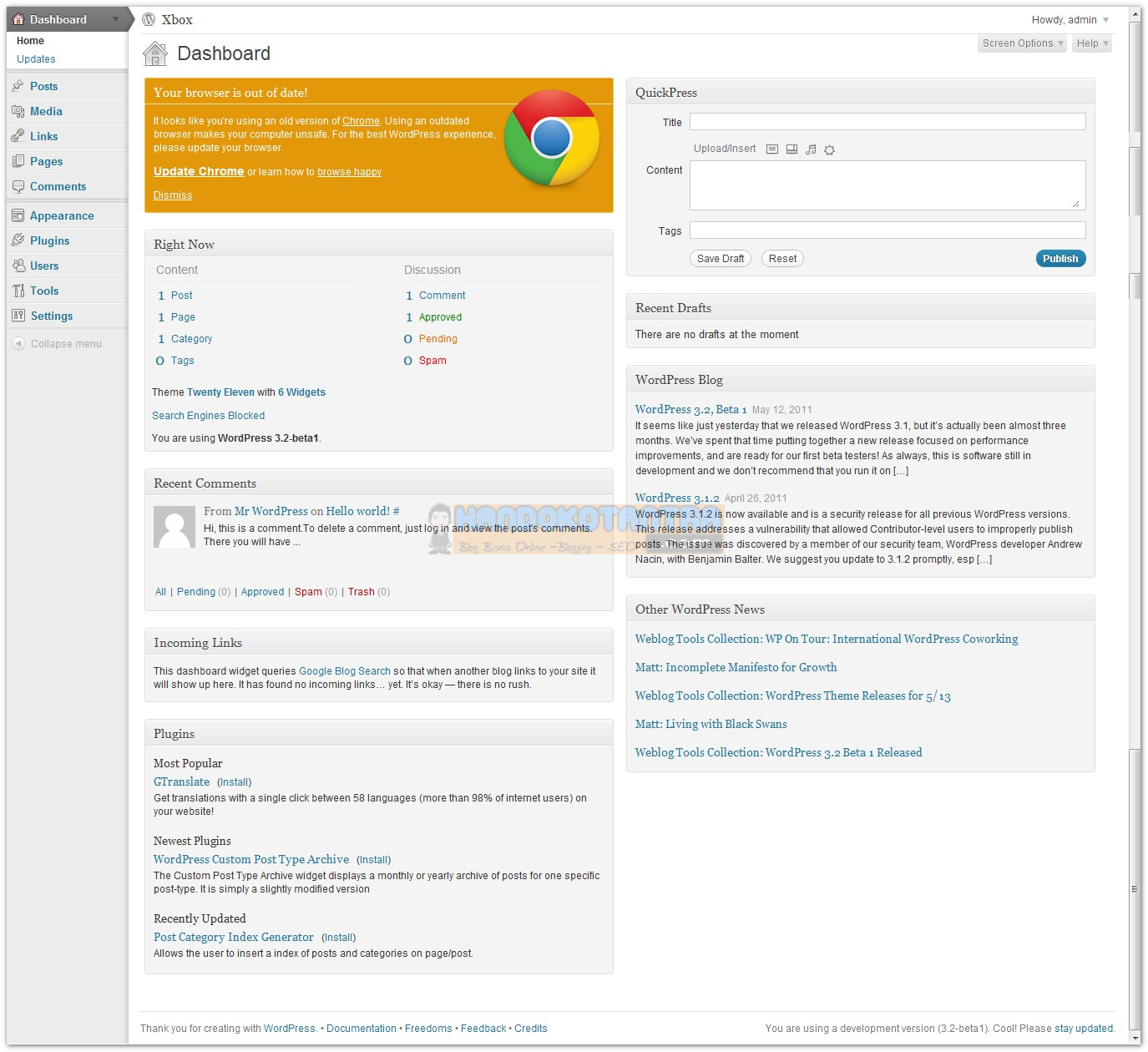 Admin dashboard WordPress versi 3.2