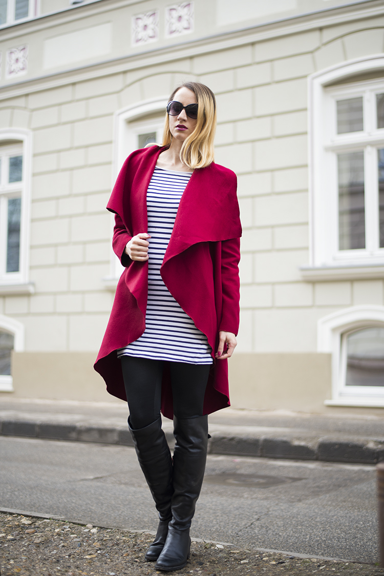 Skinny Buddha Burgundy Long Sleeve Lapel Ruffle Coat