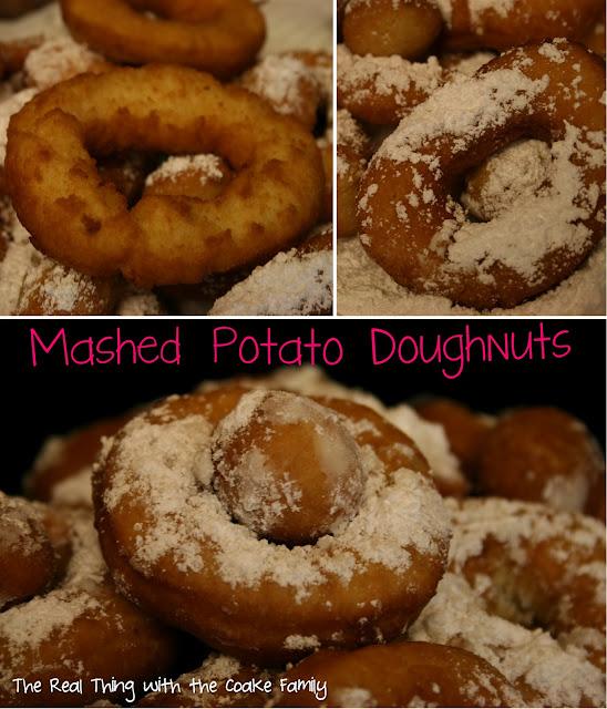 Mashed Potato Doughnuts with powdered sugar