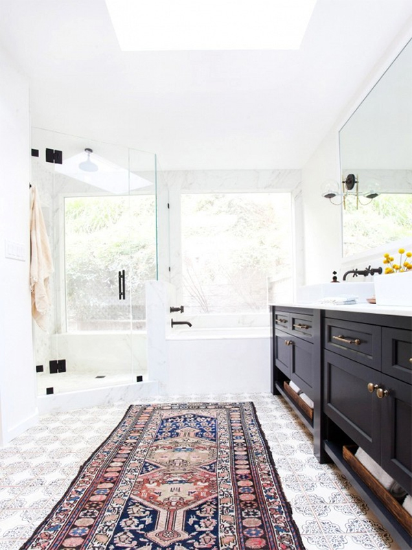 Ditch The Bath Mat Luxe Area Rug Ideas For Your Bathroom