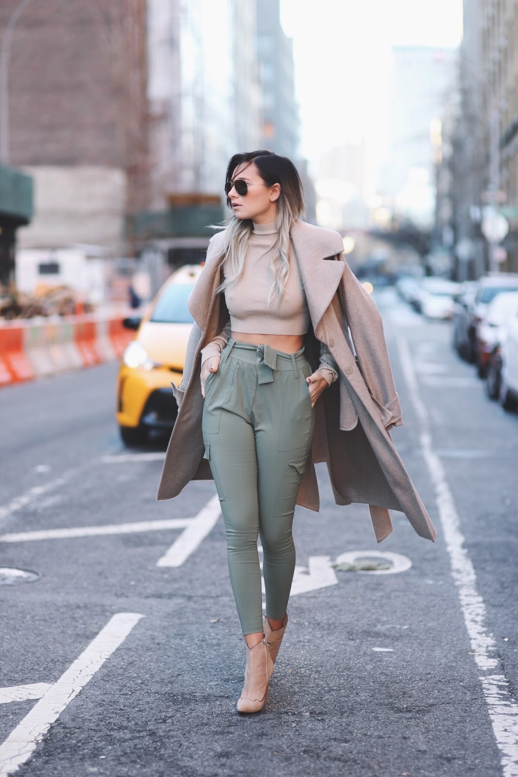 We Wore What - Topshop Khaki Pants + Nude Crop Top