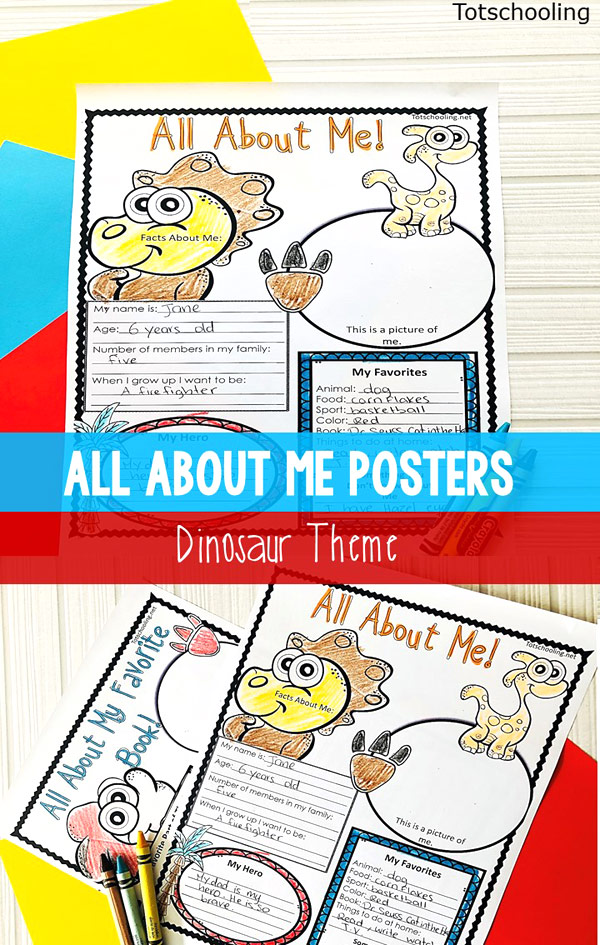 graphic regarding Free Printable All About Me Poster referred to as All More than Me Posters - Dinosaur themed Totschooling