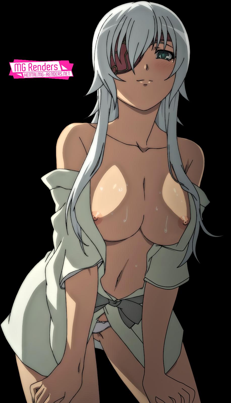 Tags: Anime, Render,  Dark skin,  Hyakka Ryouran Samurai Girls,  Nipples,  No bra,  Pantsu,  Yagyuu Gisen, PNG, Image, Picture