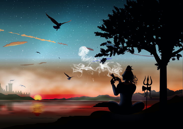lord shiva smoking hd wallpaper