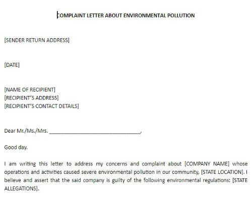Complaint Letter About Environmental Pollution