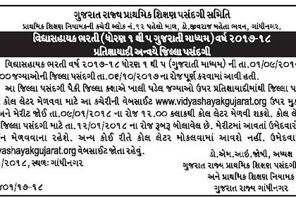 Vidyasahayak Bharti Lower Primary (Std 1 To 5) Waiting Round Notification Declared 2018