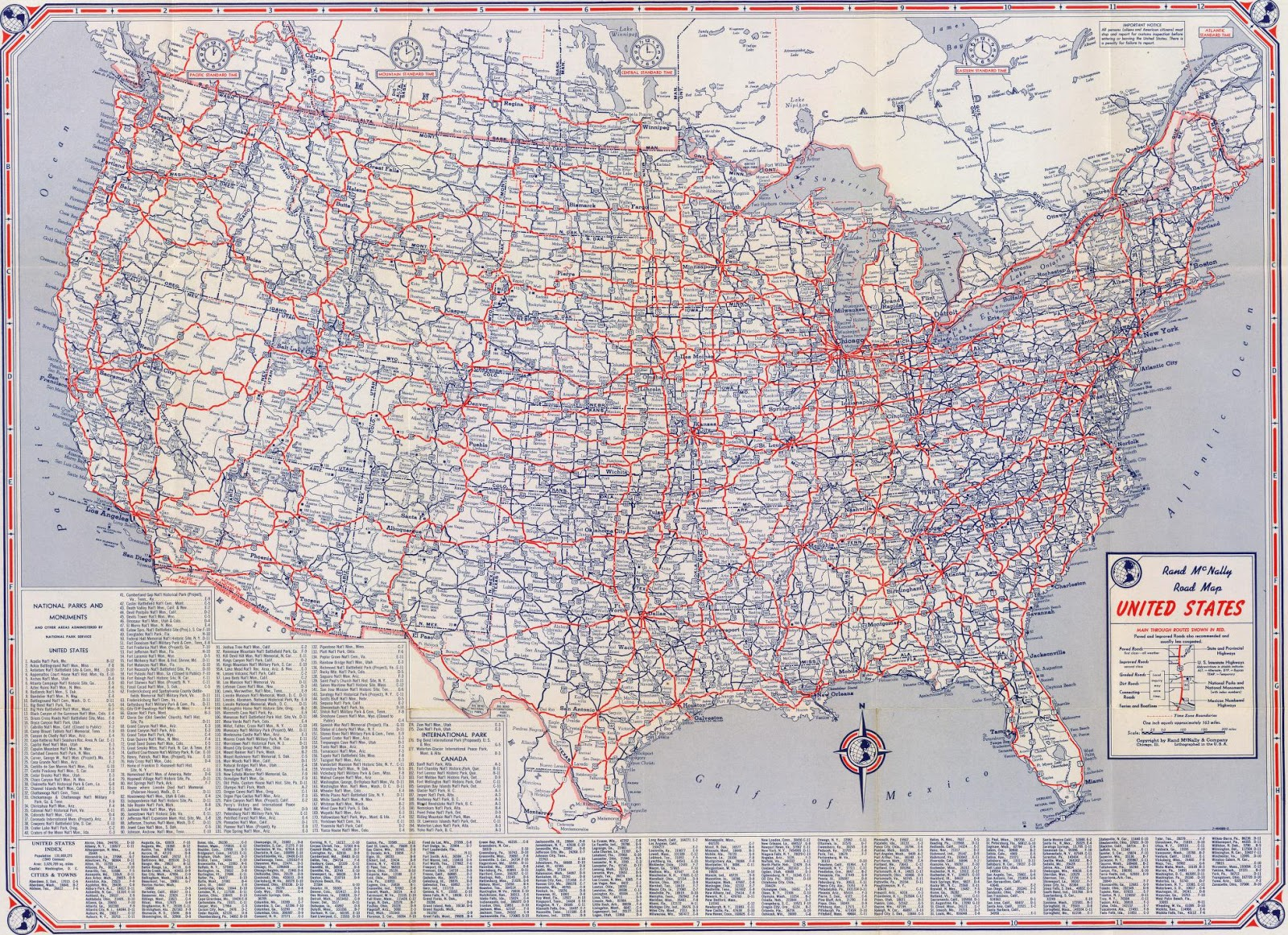 1947 rand mcnally us road map