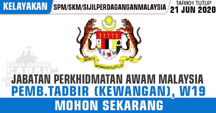 Kerja Kosong Sabah Jun 2020 Pembantu Tadbir Kew Gred W19 Jabatan Perkhidmatan Awam Jawatan Kosong Terkini Negeri Sabah