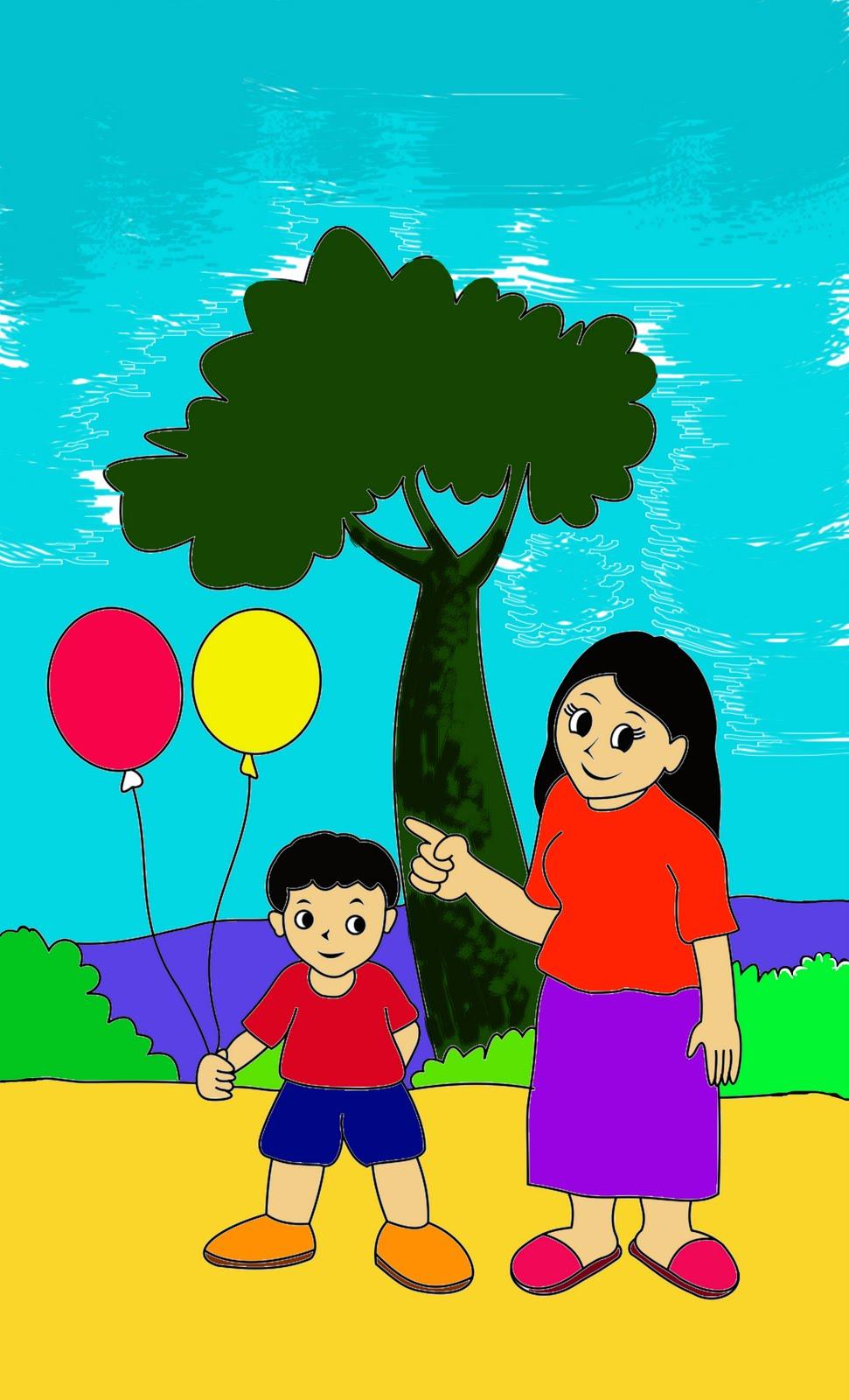 Mewarnai Gambar Anak Anak Mewarnai Ibu Dan Anak