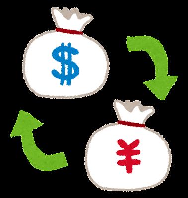 両替のイラスト「ドルと円の両替」