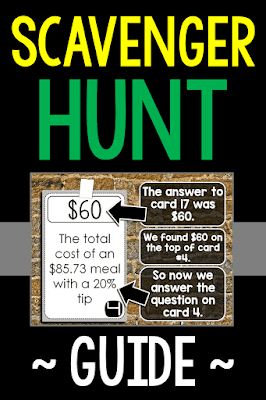A guide for how scavenger hunts work in math class and a free scavenger hunt for tax, tip and discounts