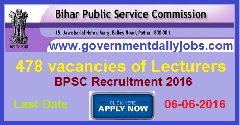 BPSC RECRUITMENT 2016 APPLY FOR 478 LECTURER POSTS - Government