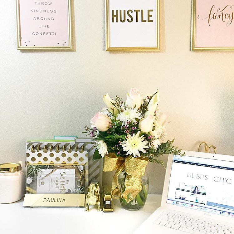 blush and gold home office, fashion blogger office, gold office, gold and pink desk accessories