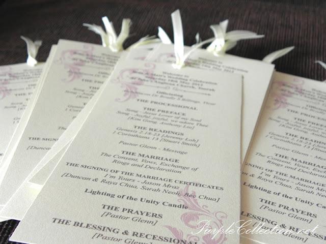 Program Cards - Church Wedding