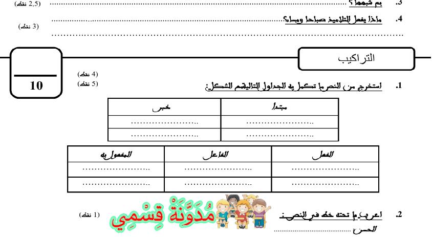 فرض المراقبة المستمرو لغة عربية المستوى الرابع وفق المنهاج المنقح