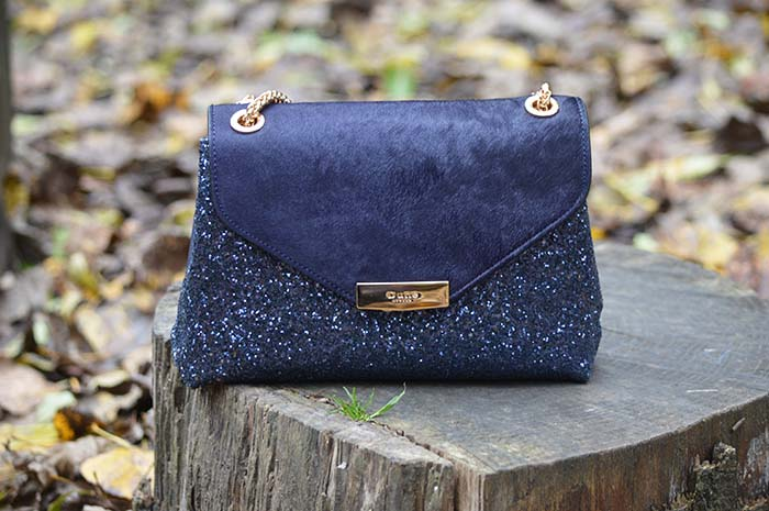 Navy dune glittery bag fashion bloggers