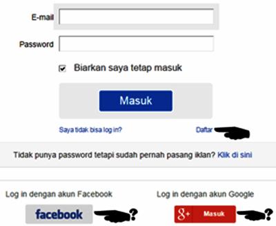 Setelah terbuka nanti disana ada pilihan Daftar secara langsung maupun  masuk dengan menggunakan akun facebook  google+ milik anda   808071aa15