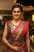 Tapsee Pannu Latest Stills in Red Silk Saree at Anando hma Pre Release Event .COM 0057.JPG