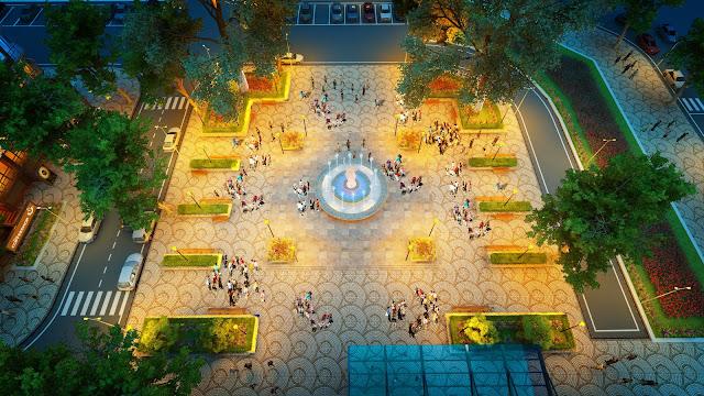 Sân vườn chung cư Mon City ban đêm