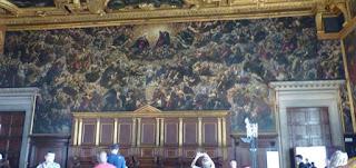 """Sala del Maggior Consiglio, """"El Paraíso"""" de Tintoretto."""