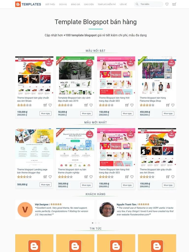 Theme blogspot bán mặt hàng giao diện blogger chuẩn seo