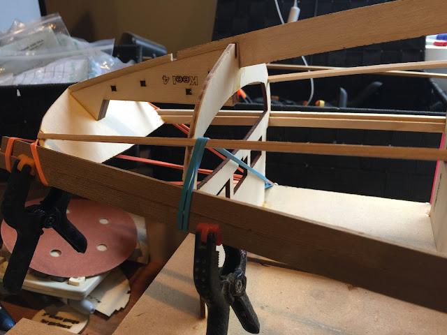 Sun Wind II RC sailboat planking