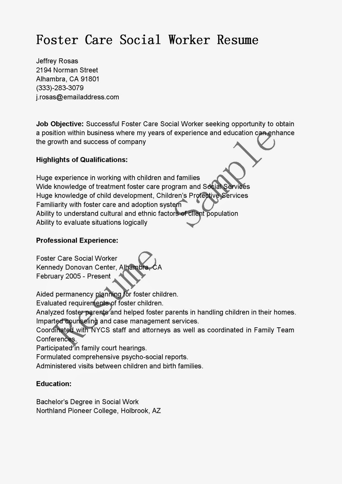 bachelor of social work resume example